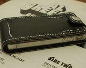 IPhone 4 & 4s sleeve case - black leather - white thread - padded - handmade