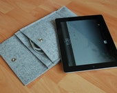 IPad 3 sleeve, IPad 3 case, IPad sleeve, IPad case - FREE SHIPPING - wool felt - with flap and pocket - light gray color