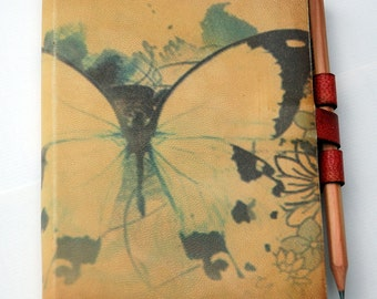 Free Initials Butterfly leather journal