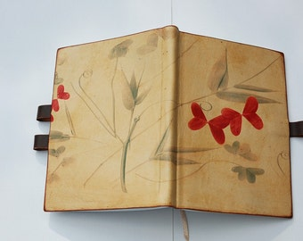 Free intials Spring love leaves leather journal