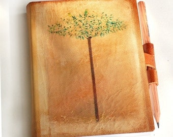 Free initials Spring Tree with two birds leather journal