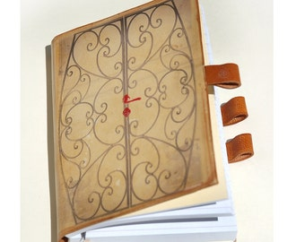 open your heart and write  leather journal free initials by request