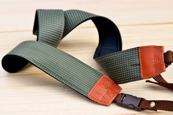 Dark Green Rainy Drops Camera Strap suits for DSLR / SLR with Quick Release Buckles