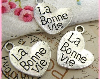 Silver Charms : 10 Antique Silver La Bonne Vie Charms | Silver The Good Life Charms 21x18mm -- Lead, Nickel & Cadmium Free 12320.B21