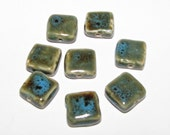 Ceramic Square Shaped  Beads - Lot of 8