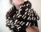 RESERVATION FOR CARA Hand knitted wrap poncho shawl cowl tube scarf brown stripes winter accessories fall colors