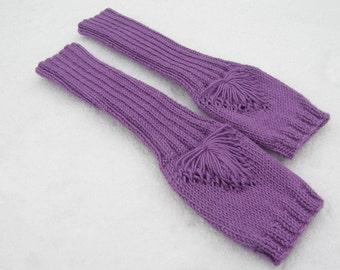 Knit fingerless gloves SALE-knit fingerless-knit wrist warmers-knit hand warmers-knit arm warmers-gauntlets-purple gloves-radiant orchid