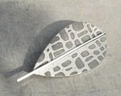 Aluminum alder leaf brooch
