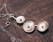 Silver flower branch pendant necklace