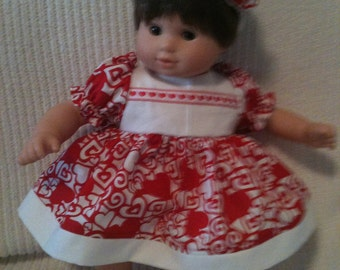 15 inch doll (modeled by Bitty Baby) red heart dress, bloomers and bow headband