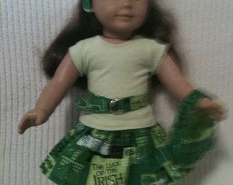 18 inch doll (fits American Girl) 5 piece Irish coordinating skirt set
