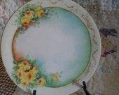 Vintage Hand Painted Yellow Rose Plate