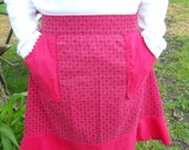 Vintage Red Calico Apron