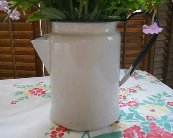 Vintage White and Black Enamelware Coffee Pot