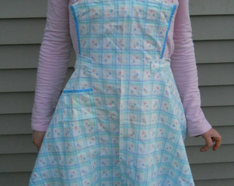 Blue White and Pink Plaid Full length Handmade Apron