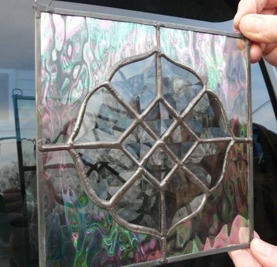 Stained Glass Panel bevel-edged and irridized waterglass with subtle color