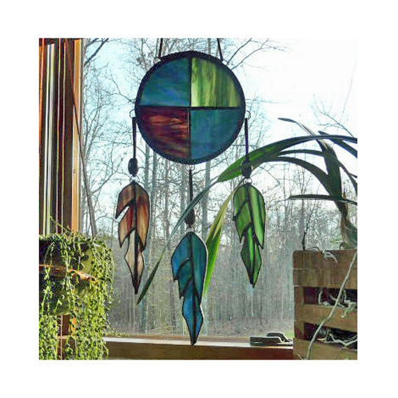 Stained Glass Suncatcher / Unique Panel - Native American Inspired - Earthy Colors - Glass Feathers hang on beaded Suede - Large 13 inches