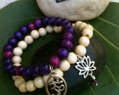 Om and Lotus Wood Beaded Stretchy Karma Charmed Bracelet Set :)