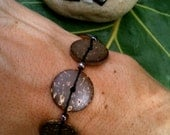 Eco-Friendly Coconut Disc Bracelet with Hemp, Glass Beads, and a Silver Toggle Clasp :)
