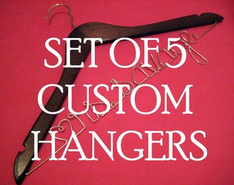 Personalized Hangers Customized for Wedding - SET of FIVE single line hangers