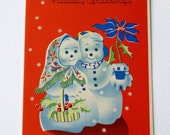 1940s Vintage Snowcouple Christmas Card UNUSED, with envelope