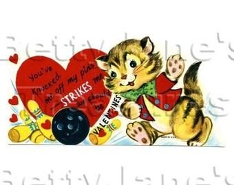 1950s Vintage cat bowling Valentine, unused