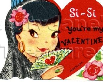 Vintage Spanish lady Valentine, unused