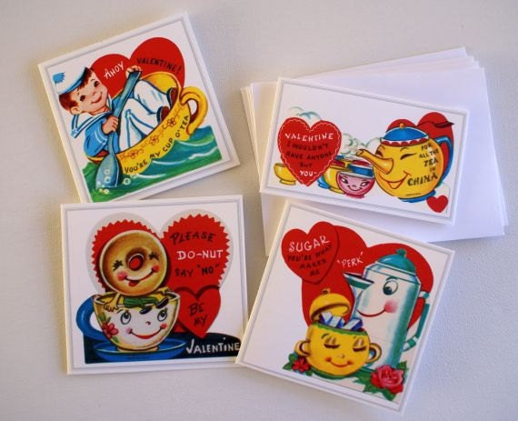 Set of FOUR teacup and coffee Valentines made from Vintage Valentines