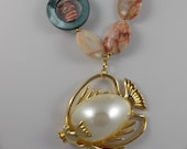 Fish Pendent and Stone Necklace and Earring Set