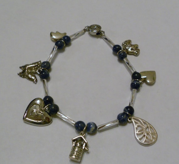 Blue Sodalite Stone and Sterling Silver Charm Bracelet