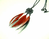 Bohemian Feather Necklace Red Black Filigree Pendant Gyspy Boho Hippie Jewelry
