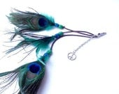 Peacock Feather Hair Clip Feather Extensions Long feather hair clip green blue peace hippie boho