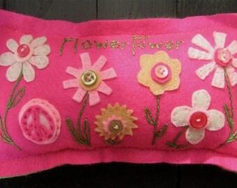 """OOAK Handmade Whimsical Felt Button """"Flower Power"""" Pillow SPECIAL reg. 18.00 NOW 11.00"""