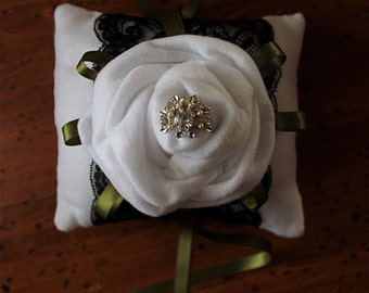 Ring Bearer Wedding Pillow Vintage White Rose SPECIAL reg. 28.00 now 15.00
