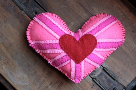 Special Save 5.00 now just 13.00 UNION JACK HEART Valentines Day Felt Handmade Pillow