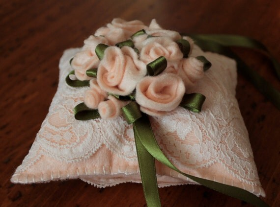 Ooak Champagne Roses Felt Shabby Chic RING BEARERS WEDDING Pillow was 24.00 Now  11.00