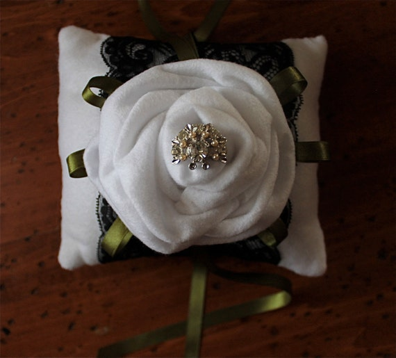 Ring Bearer Wedding Pillow Vintage White Rose SPECIAL reg. 28.00 now 15.00