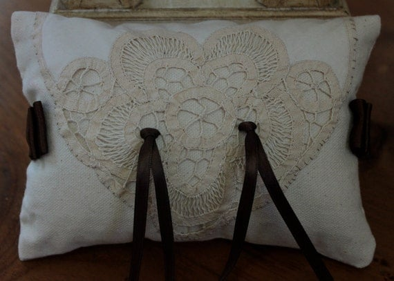 OOAK Ring Bearer Wedding Pillow Victorian Tatted Lace Brown Satin.