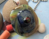 Triple Eye Button Fused Glass Pendant with caramel, lime, cobalt blue, black and red.