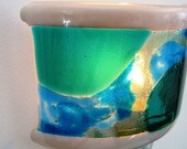 Tsunami Wave Fused Glass Night Light in Teal Green, Sky Blue and Aqua Blue