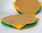 Felt Cheeseburger Coasters, Hostess Gift, Barbecue Coasters, Hamburger Play Food,  MugMats Set of Four