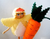 Spring Chick Bendy Doll Figure, Bendable Art Doll, Chicks with Carrots