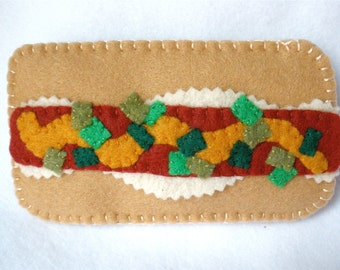 Felt Hot Dog Phone Case, Hand Stitched Frankfurter, Loaded Hot Dog, Father's Day, Mustard, Sauerkraut, and Relish