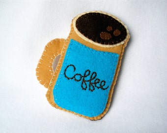 Felt Coffee Mug Phone Case, Turquoise Coffee Cup,  Hand Stitched iPhone,  Android Cozy