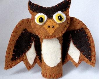 Felt Owl Finger Puppet, Woodland Puppet, 3D Storytelling Prop, Hand Stitched Hoot