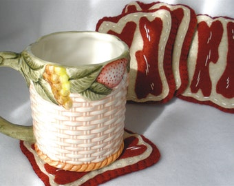 Felt Bacon Coasters, Hand Stitched Bacon Strips, Hostess Gift, MugMats  Set of Four Bacon Slab