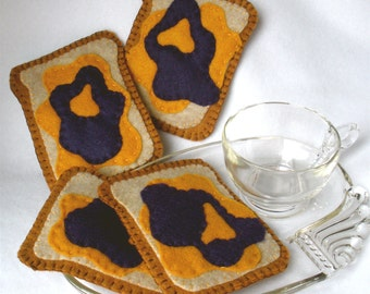 Felt Coasters, Peanut Butter and Jelly Coasters, Hostess Gift, MugMats Set of Four, Sandwich Coasters,  Lunch or Snack