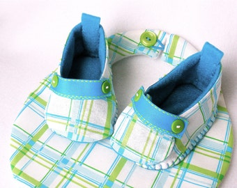 Boys Baby Shoes, Hand Sewn Plaid Bootie and Bib Gift Set,  Aqua Blue, Spring Green, and White Hand Stitched Cotton
