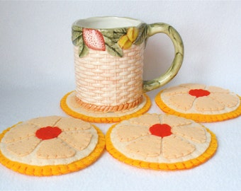 Felt Grapefruit Half Coasters, Fruit Coasters, Hostess Gift, MugMats Set of Four, Hand Stitched Healthy Breakfast Coasters
