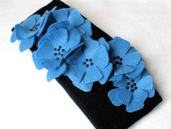 Knit Headband Ear Warmer Black with Blue Floral Cascade